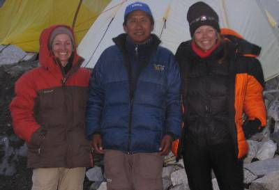 Reny, Ptemba and I waiting at basecamp for news from Paul and Attila. Photo Meagan