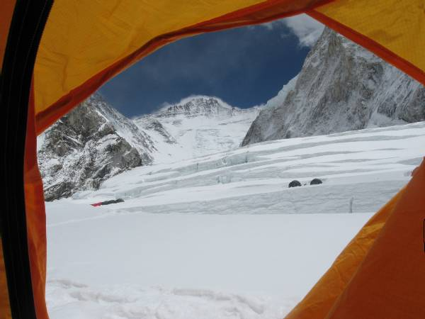 The view outside my tent today. You can see the large crevasses near c1, and then on up the Western Cwm to the Lhotse face. Photo Paul Adler
