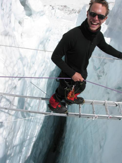 Paul crossing a ladder in the Khumbu icefall this morning. Photo Lhakpa Nuru.