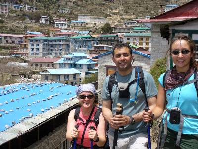 Denise, Cas and Julia on the hill up to Namche. Photo Fiona Adler.