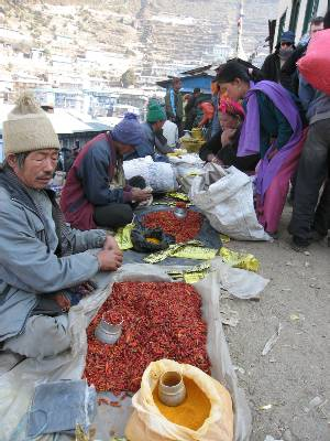 Chilli & saffron for sale at Namche Bazaar this morning. Photo Paul Adler.