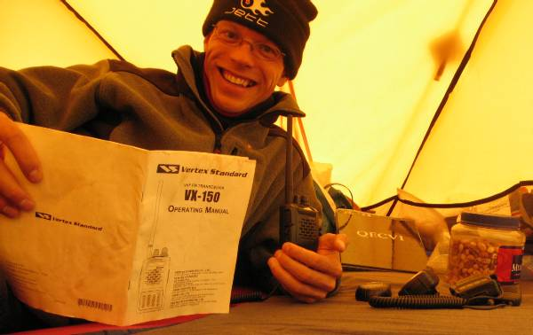 Configuring the radios I will use to communicate with base camp while I am climbing Everest. Picture Paul Adler.
