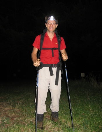 Setting off at 4am to climb Mt Donna Buang on Monday this week. Here I am fresh, but I am pretty tired by the third time carrying 20 kilos up the 800m vertical gain. I start in the dark to simulate summit day on Everest. Photo Fiona Adler.