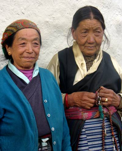 Ang Nima's mother and her friend pose for a photograph. Photo Denise Jeffries.