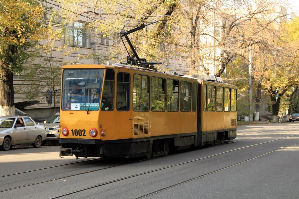 A tram in Almaty, Kazakhstan